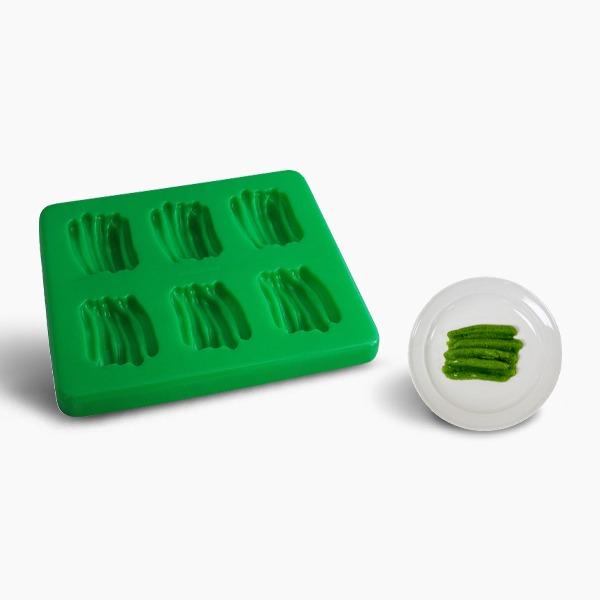 Smoothfood Silikonform Grüne Bohnen mit Deckel