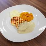 pürierte Kost mal appetitlich: Putenmedaillons mit Karotten und Kartoffelschaum